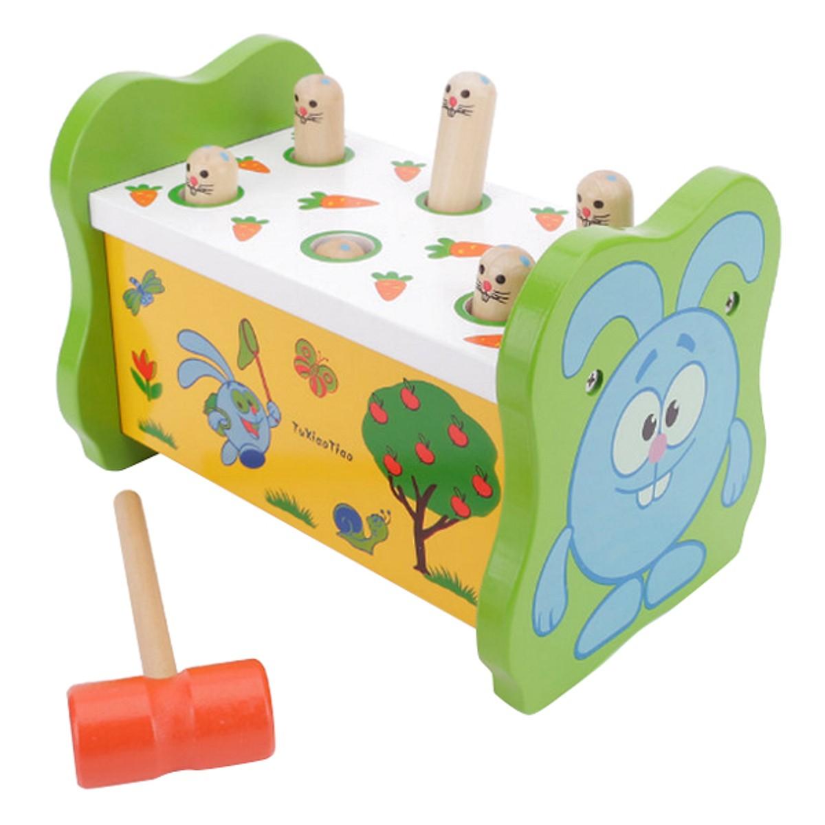 Bộ đồ chơi gỗ đập chuột xanh giúp bé rèn luyện tay khéo mắt tinh