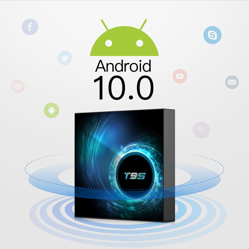 Android Box Android 10, RAM 4G, 32G ROM mạnh mẽ, wifi băng tần kép, bluetooth 5.0,đa năng, mang lại nhiều khung giờ giải trí cùng gia đình T95+TVA00