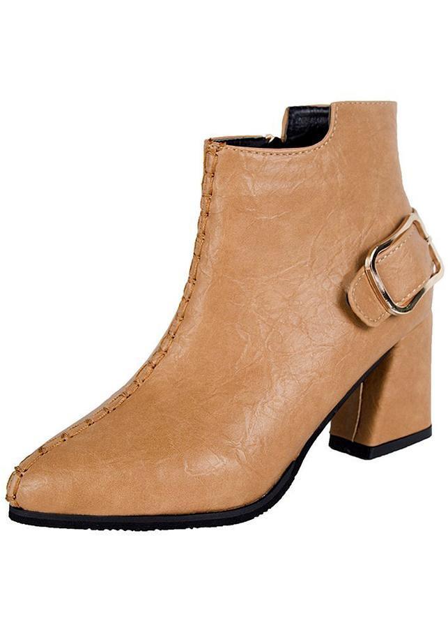 Giày boot nữ cổ trung da pu mềm,gót vuông đi nhiều êm chân,dễ phối thời trang-851