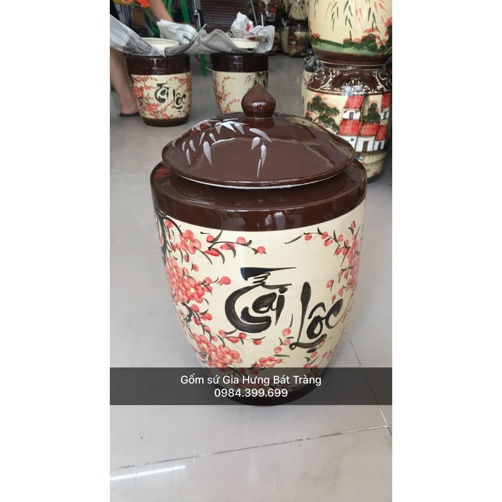 Hũ đựng gạo loại 20kg gốm Gia Hưng Bát Tràng