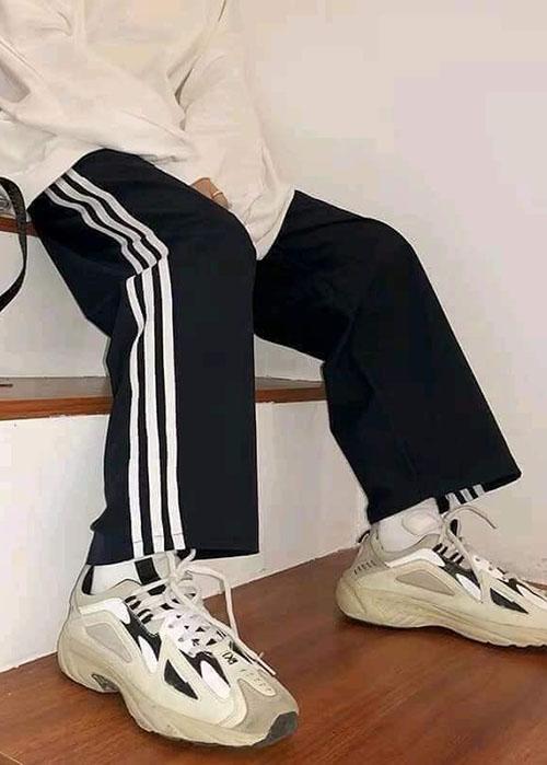 quần 3 sọc ống rộng quần culottes 3 sọc