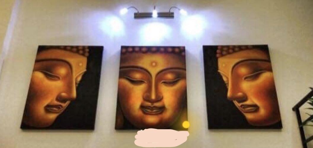 Tranh vẽ sơn mài - Khuôn mặt Phật Tích Ca ( Tranh ghép 3 Bức)-HD007