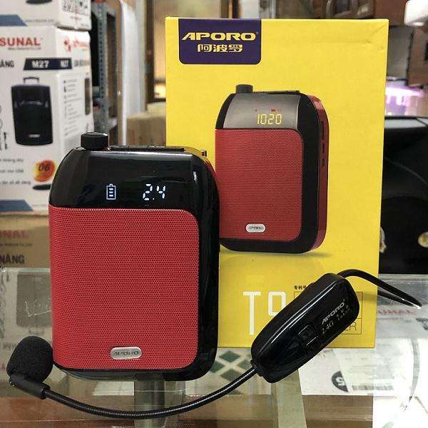 Máy trợ giảng không dây cao cấp Mỹ Aporo T9 2.4G Wireless - Kèm theo: 1 Micro ko dây + 1 Micro có dây cài tai  + 1 Micro có dây cài ve áo