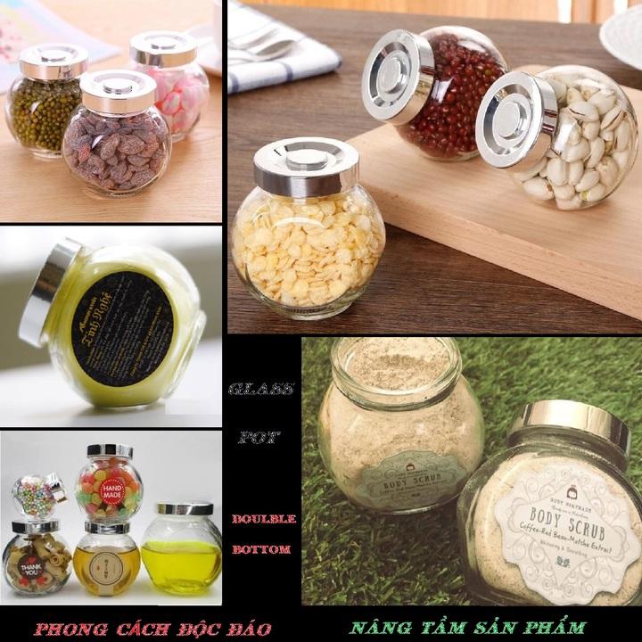 combo 2 hũ thủy tinh đựng bánh kẹo 480ml mẫu Tròn Dẹt kiểu Nghiêng 2 đáy - nắp nhựa màu bạc - hũ đựng gia vị thủy tinh siêu trong - đựng bánh kẹo, gia vị, mật ong, sữa ong chúa, thực phẩm, mỹ phẩm
