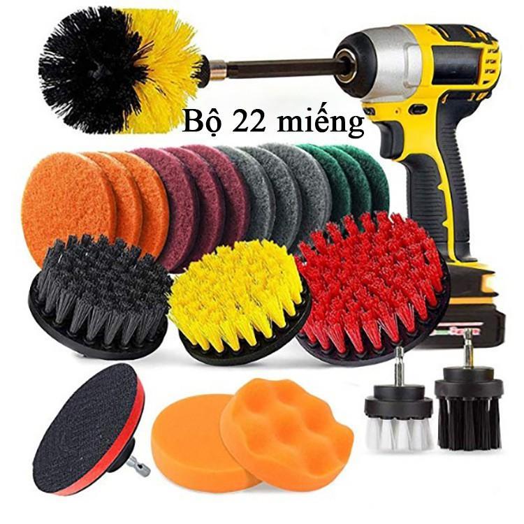 Combo 22 Bàn chải phụ kiện cho máy khoan làm sạch, loại bỏ bụi, đánh bóng, vệ sinh tiện lợi