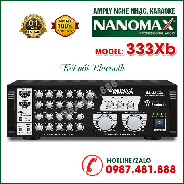 Amply karaoke nghe nhạc bluetooth Nanomax SA 333Xb - 12 sò siêu khỏe - Hàng chính hãng