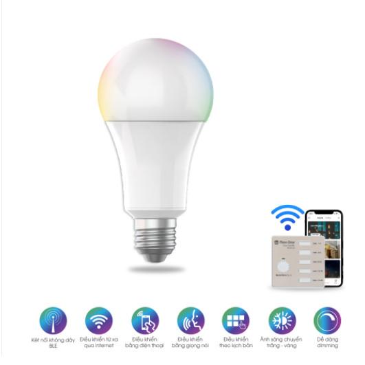 Bóng đèn LED RGB 36 triệu màu điều khiển từ xa bằng Bluetooth/Wi-Fi Rạng Đông model A60.BLE.RGBCW/9W
