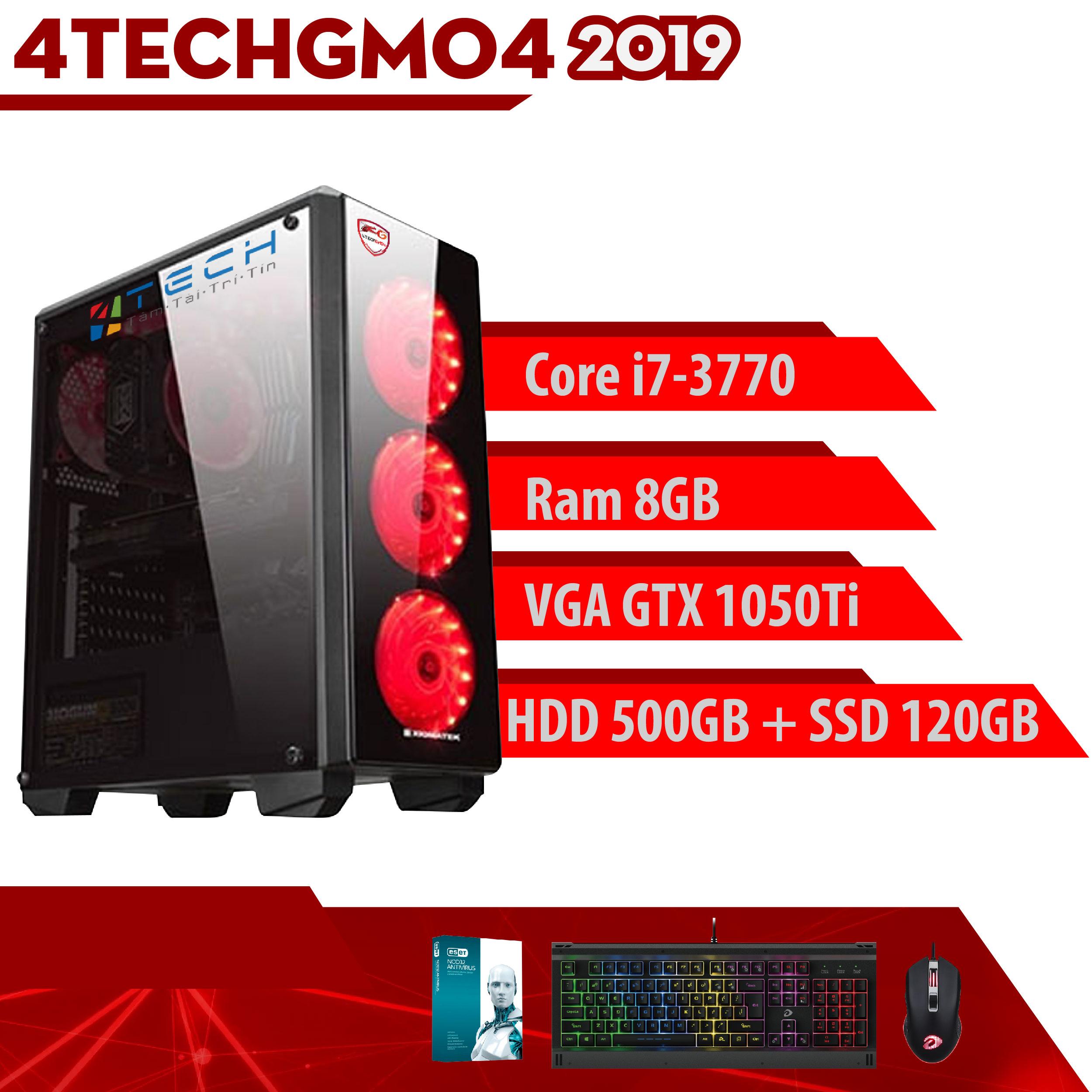 Desktop Computer PC Gaming 4TechGM04 2019, cây máy tính văn phòng cấu hình cao chơi Game, thiết kế đồ họa như máy trạm chuyên nghiệp dùng cho cá nhân, doanh nghiệp, Club Games dùng CPU Core i7 cho Render Video nhanh, không bị chậm, giật, lag. - Hàng Chính