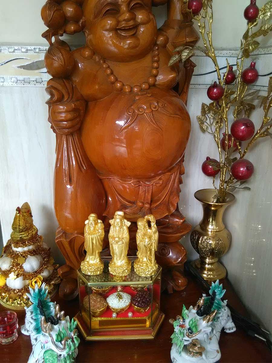 Bộ tượng đá poly am đa tPhúc Lộc Thọ vàng loại nhỏ TDV10