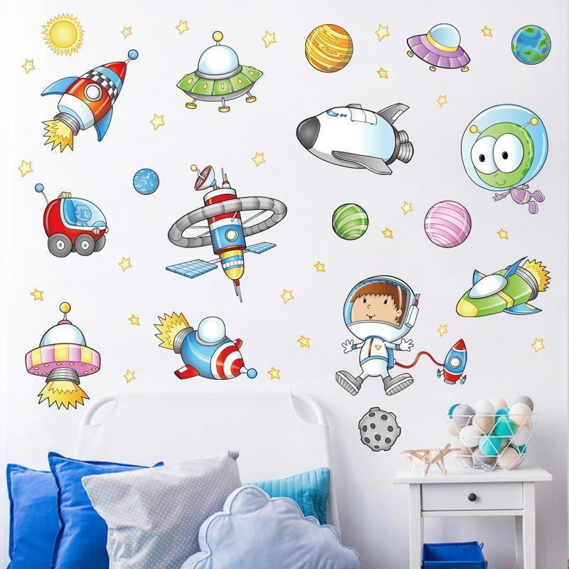 Decal trang trí dán tường không gian phi hành gia cho bé XL7239