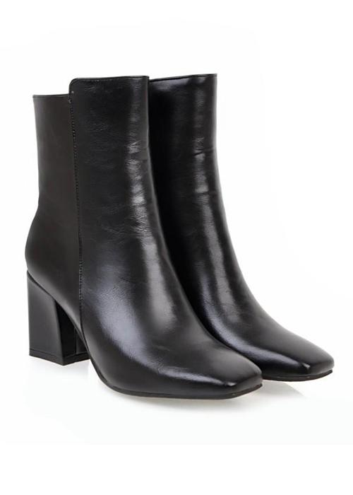 [ Có ảnh thật ] Boot cổ lửng màu đen MŨI VUÔNG thời thượng GBN0801