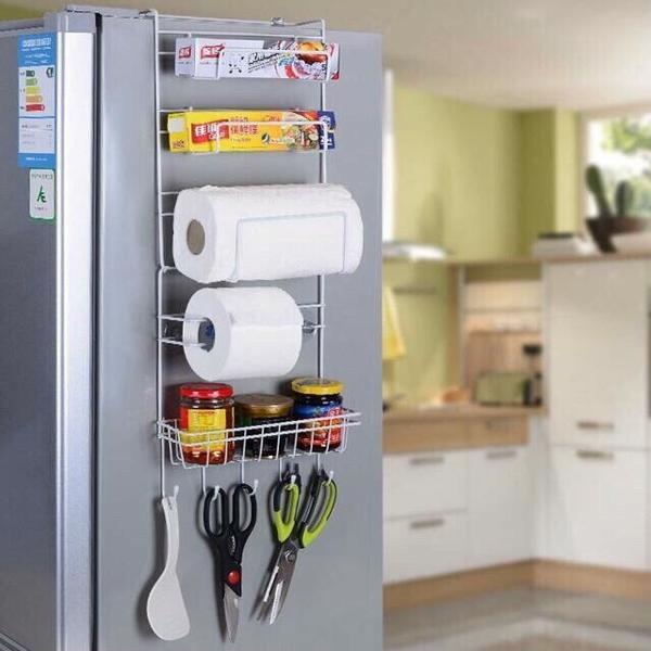 Kệ sắt treo, giá treo mặt bên, bên hông Tủ Lạnh, Tủ Quần Áo, dán hít chân không, sắp xếp đồ, tiện ích
