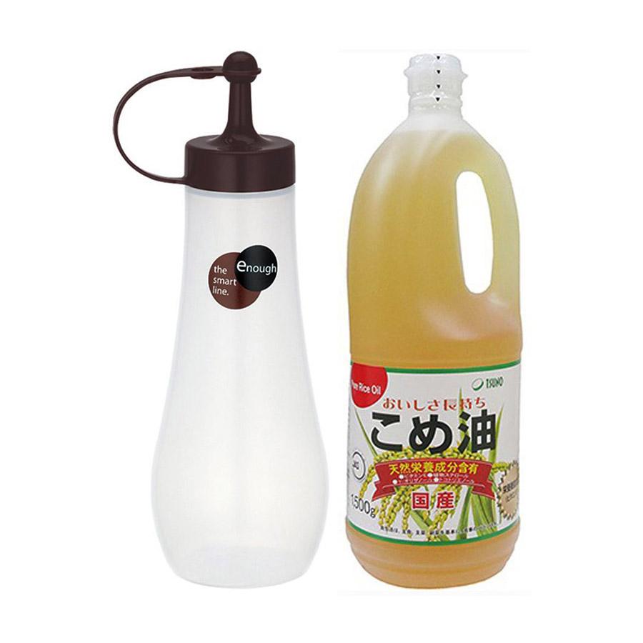 Dầu gạo Tsuno nguyên chất (1500g) + Lọ đựng gia vị, nước sốt, nước tương Enough màu Nâu (360ml) - Nội địa Nhật Bản