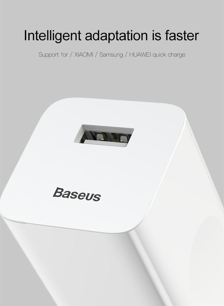 Cốc Củ sạc nhanh Baseus công suất 24W Công nghệ Sạc Nhanh Qualcomm QC 3.0 tự động điều chình dòng sạc - Hàng nhập khẩu