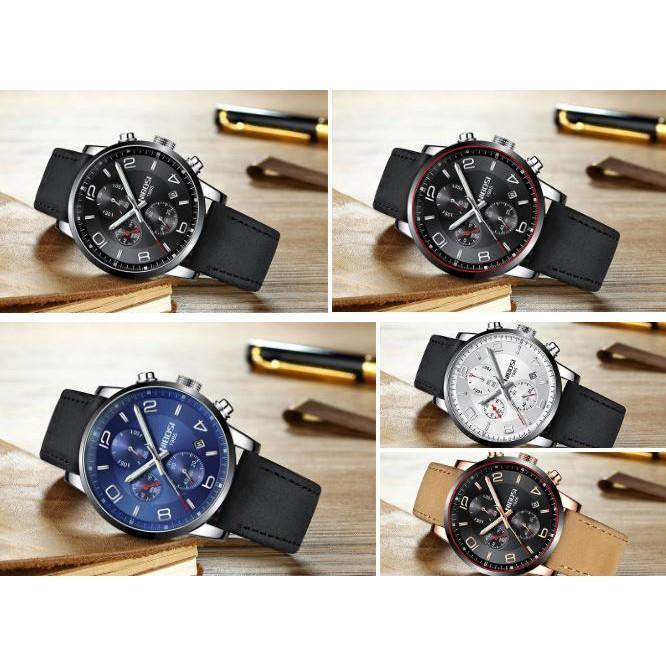 Đồng hồ thời trang công sở nam NIBOSI chính hãng NI2328.08 fullbox, chống nước - Chạy full 6 kim, mặt kính mineral, dây da cao cấp
