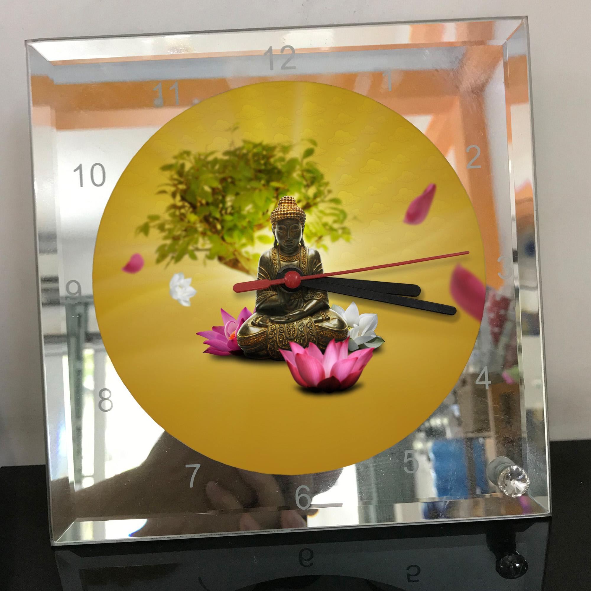 Đồng hồ thủy tinh vuông 20x20 in hình Buddhism - đạo phật (22) . Đồng hồ thủy tinh để bàn trang trí đẹp chủ đề tôn giáo
