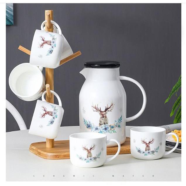 Bộ bình trà 6 cốc hình tuần lộc siêu đẹp