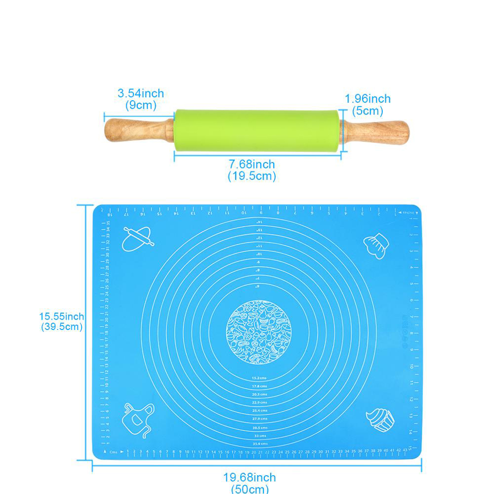Combo Tấm Lót Nhào Bột Chống Dính SIlicon 40*50cm Và Cán Lăn Bột Silicon 38cm