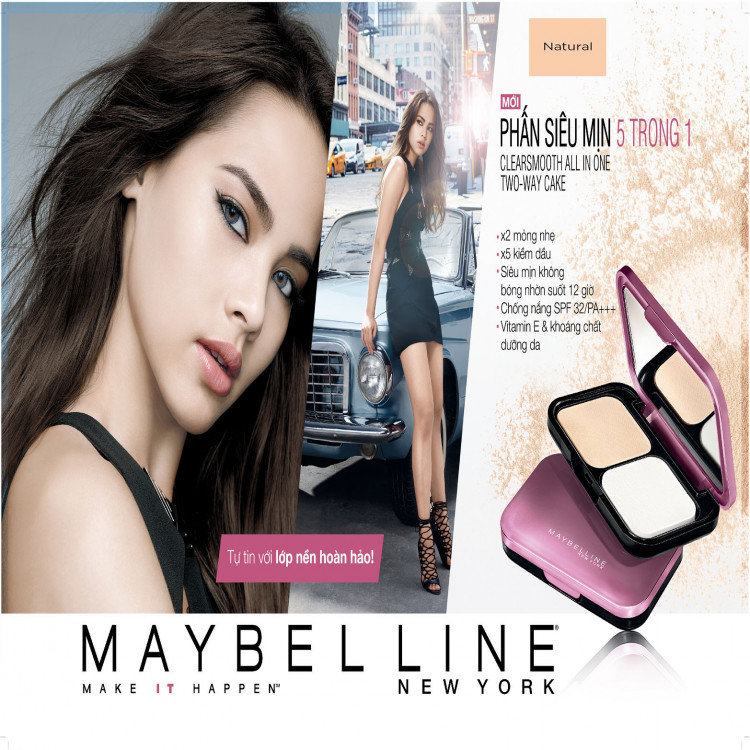 Phấn Trang Điểm Siêu Mịn 5 Trong 1 Maybelline Clearsmooth All In One Two Way Cake - Màu 03 Natural 9g 1