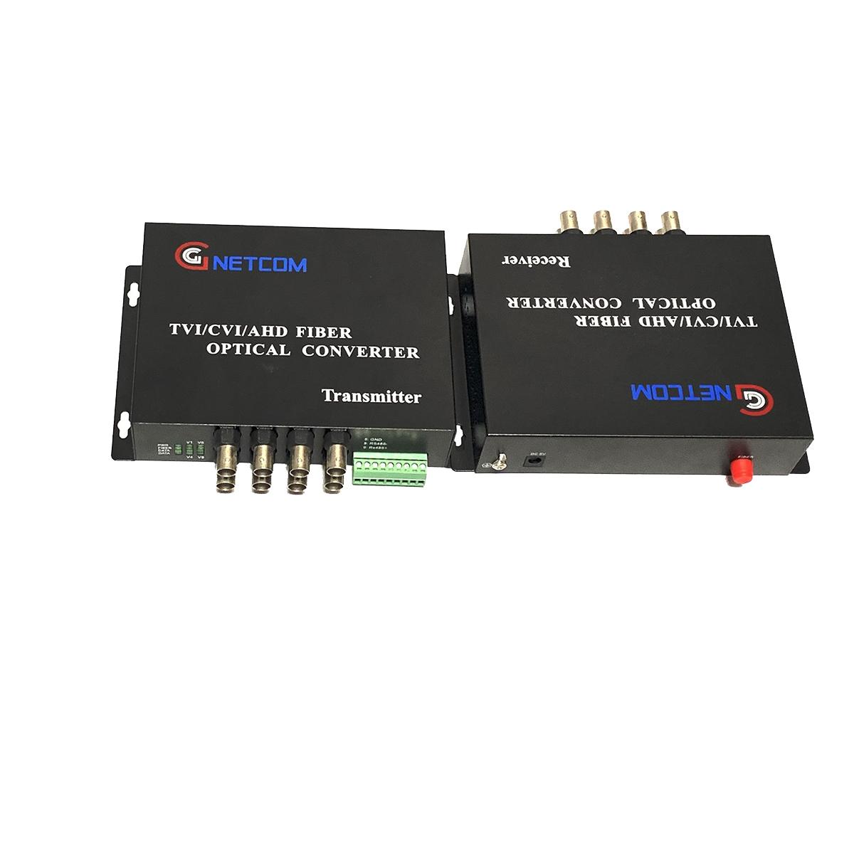 Bộ chuyển đổi video sang quang 8 kênh GNETCOM HL-8V1D-20T/R-720P (2 thiết bị,2 adapter,Cổng điều khiền) - Hàng Chính Hãng