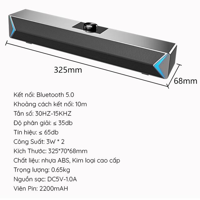 Loa Thanh Siêu Trầm Bluetooth Gaming Soundbar Để Bàn D6 Công Suất Lớn Dùng Cho Máy Vi Tính PC, Laptop, Tivi