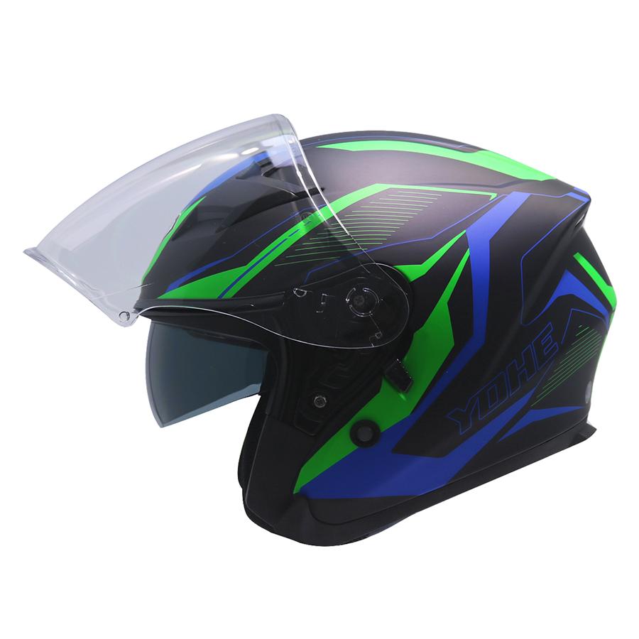 Mũ Bảo Hiểm 3/4 2 Kính Yohe 878 1#Matt - Black/ Green Blue