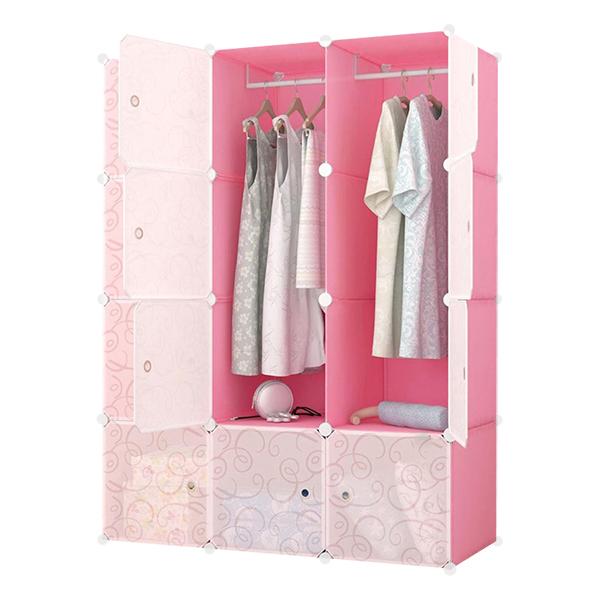 Tủ Nhựa Ghép Đa Năng 12 Ô Cánh Trong 12.HP.67 - Hồng Phấn (110 x 145 cm)