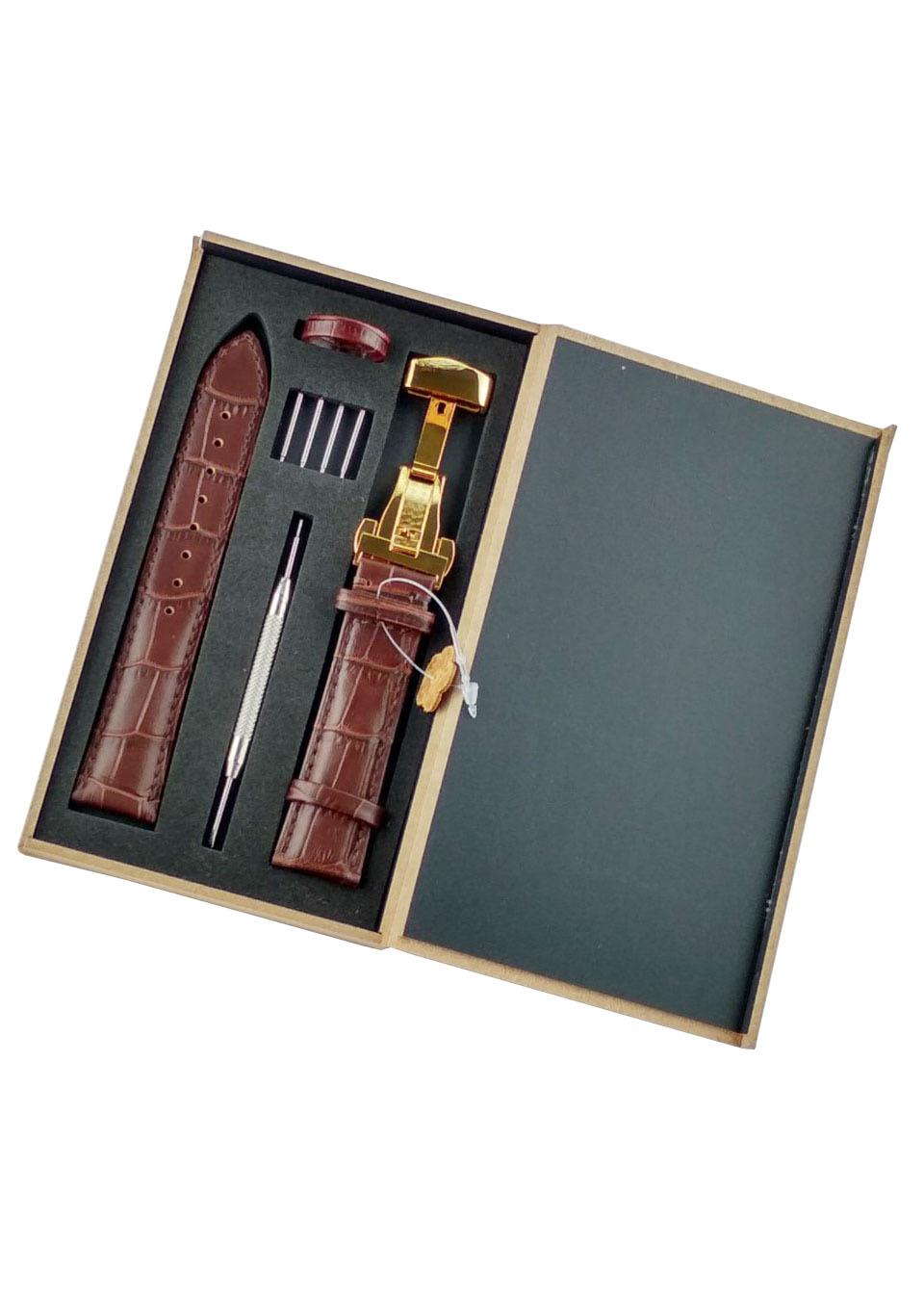 Dây đồng hồ da bò cao cấp tặng Hộp Gỗ kèm khóa bướm thép không gỉ 316L (Nhiều màu)