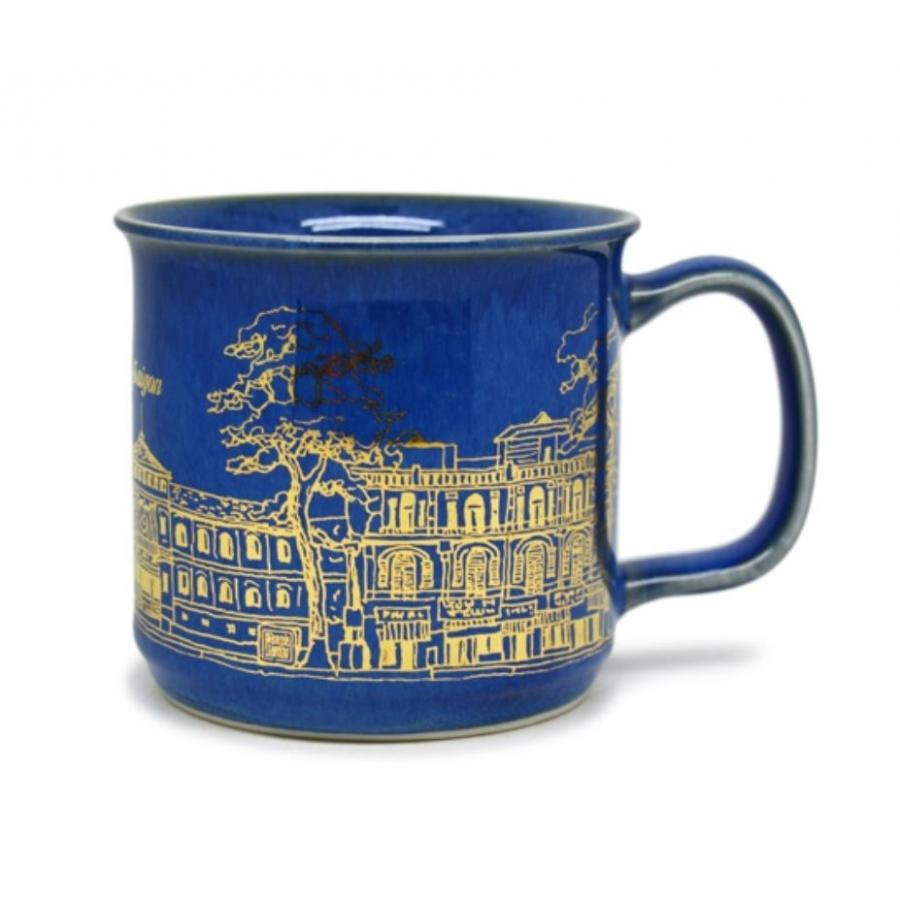 Cốc cà phê Đại Sài Gòn  Đông Gia-màu men hỏa biến tự nhiên xanh 34 mạ vàng