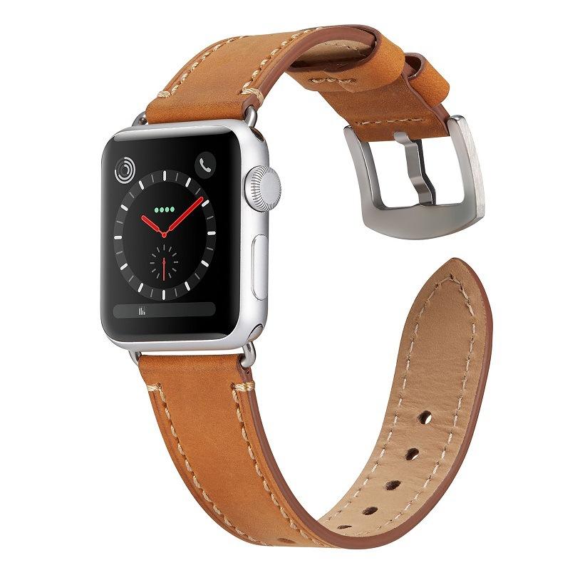 Dây đeo thay thế cho Apple watch 1,2,3,4,5 da bò sáp hộp đựng bằng gỗ cao cấp