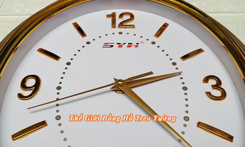 Đồng hồ Treo tường Oval Màu Vàng đồng – Số nổi 3D