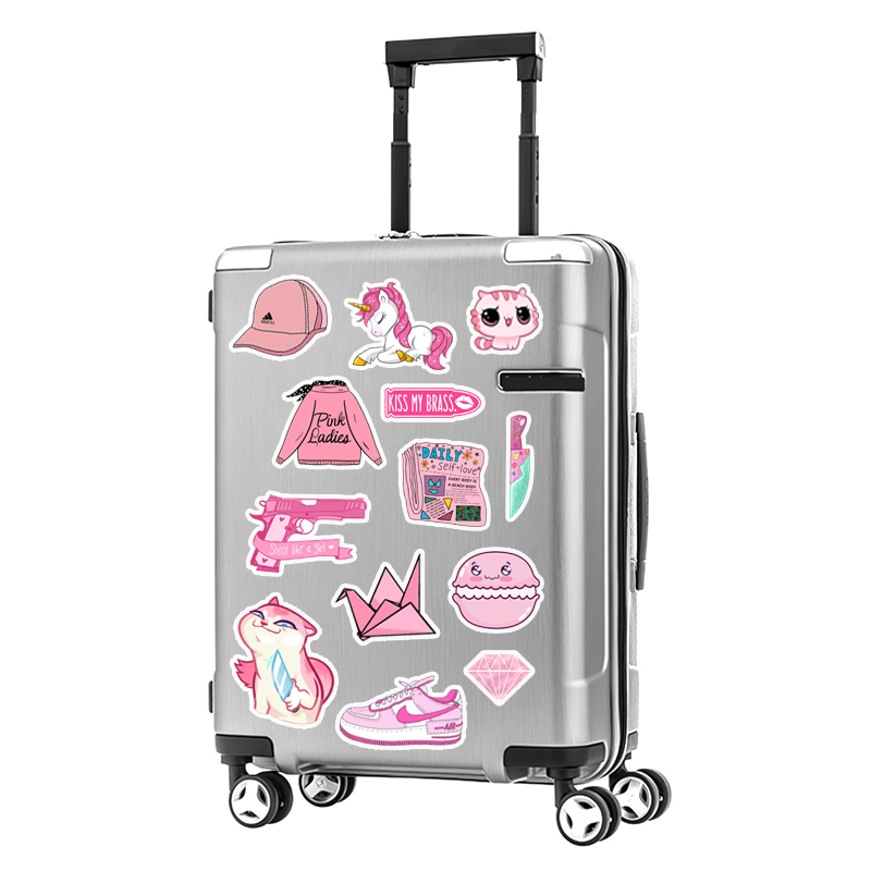 Set 50 Hình Sticker Chủ Đề Pink Pastel