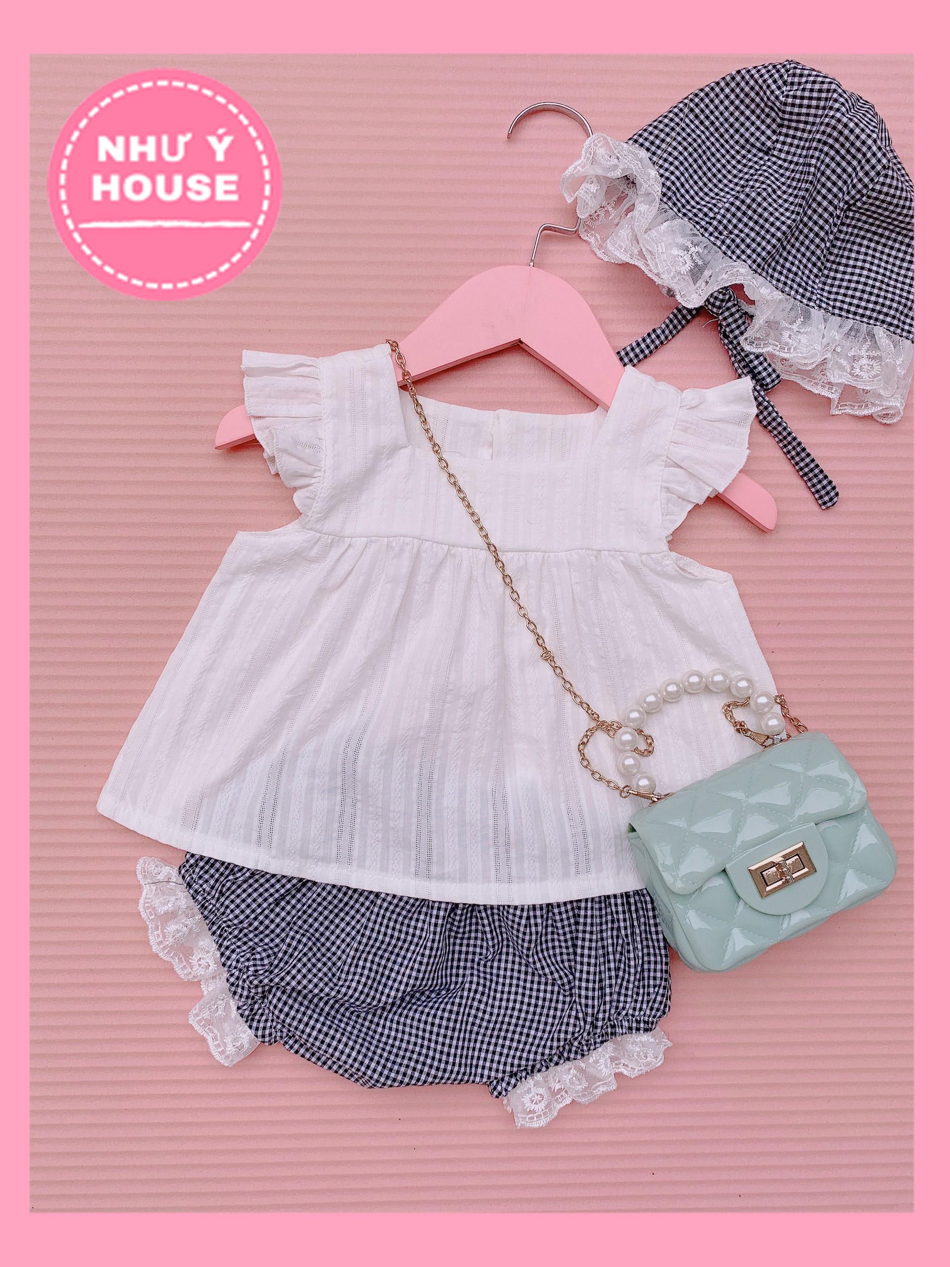 Set quần áo bé gái  KÈM MŨ bộ đồ cho bé NHƯ Ý HOUSE
