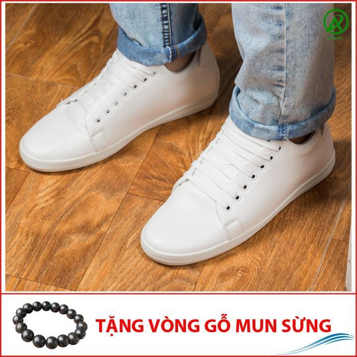 Giày Thể Thao Nam Màu Trắng Tăng Chiều Cao 6Cm Không Hề Lộ Cực Đẹp - Cực Chất - M360-TRANG(GM)- Kèm Vòng Gỗ Mun