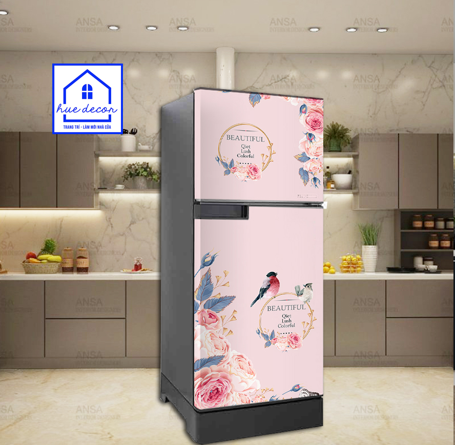 Decal dán tủ lạnh mẫu hoa hồng pháp - Chất liệu chống nước, phù hợp với mọi loại tủ