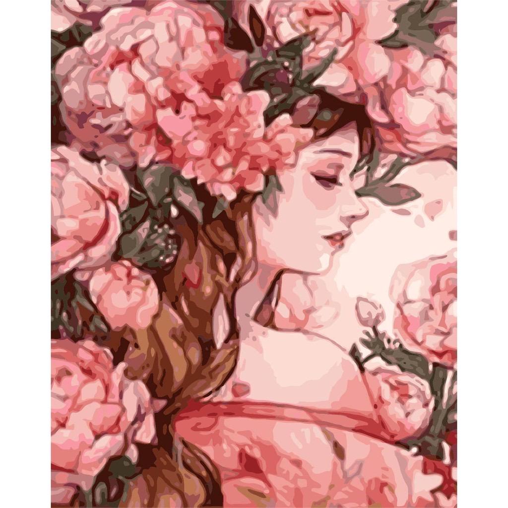 Tranh số hoá tự tô đã căng khung nàng thơ hoa NT3
