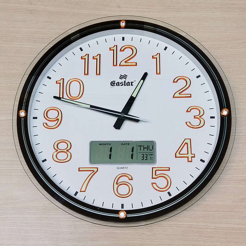 Đồng hồ Eastar Kính nổi 3D có Dạ quang, Màn hình Lịch và Nhiệt kế Điện tử
