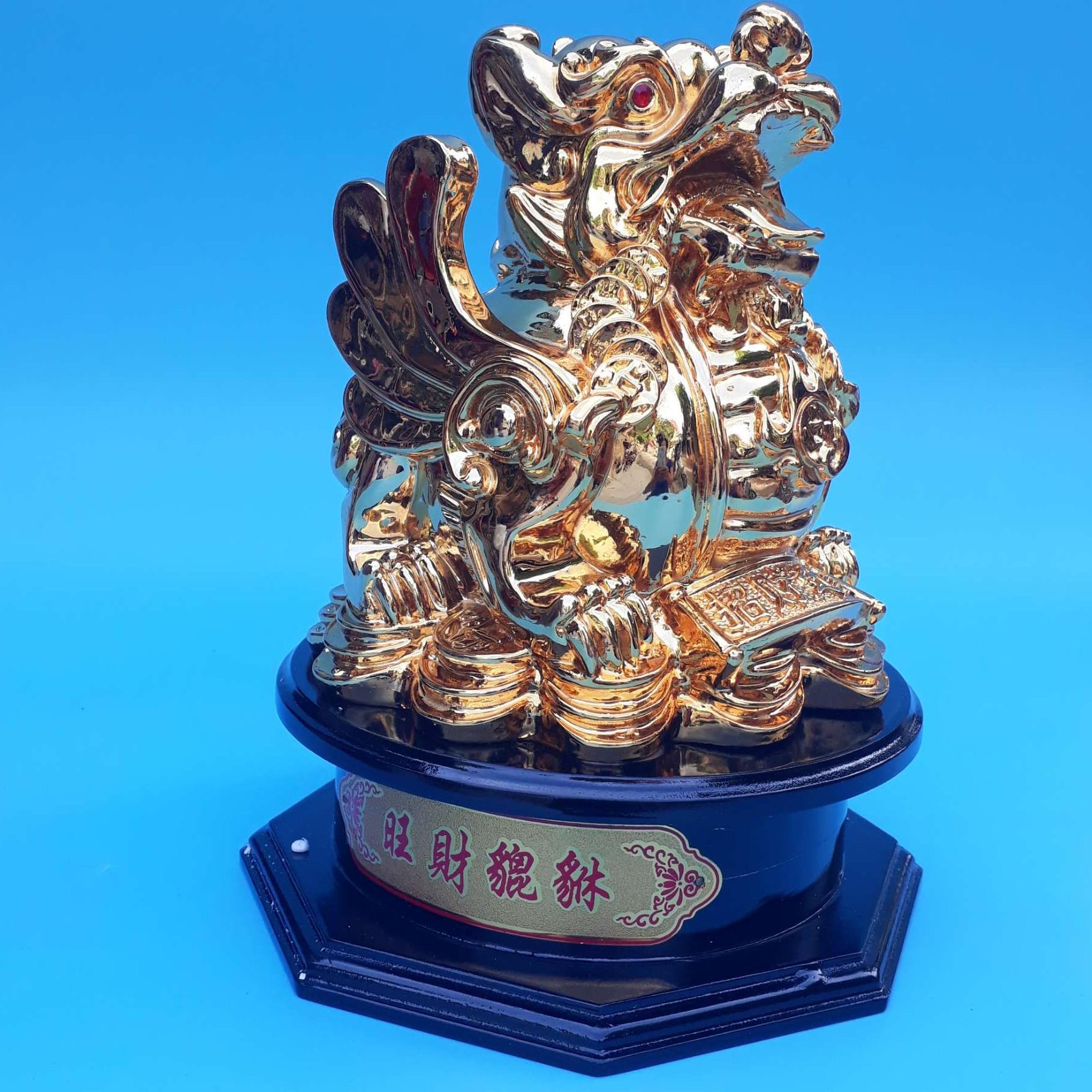 Tỳ hưu phong thủy để bàn -  trấn trạch, chiêu tài lộc - 18 cm -vàng