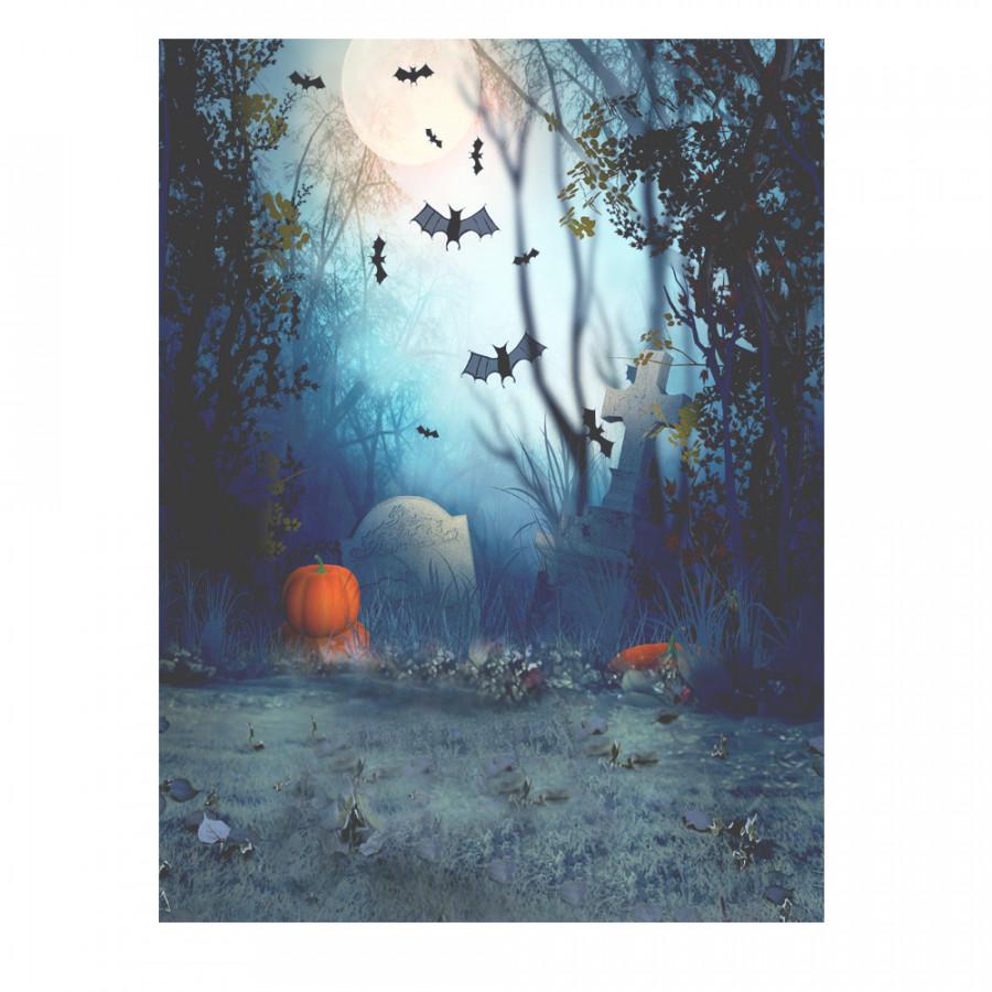 Andoer 1.5  2m Photography Background Backdrop Digital Printing Hallowmas Halloween Pumpkin Graveyard Bat Pattern for Pattern 2
