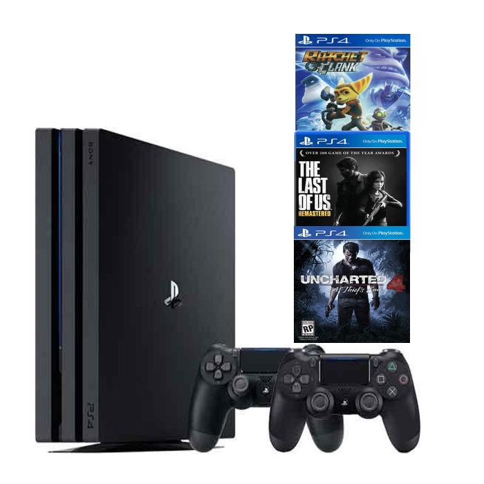 Combo Máy Chơi Game Ps4 Pro 1tb Model CUH -7218b Kèm 3 Game Uncharted 4 ,The Last Of Us ,Ratchet & Clank-2 Tay Cầm - Hàng chính hãng