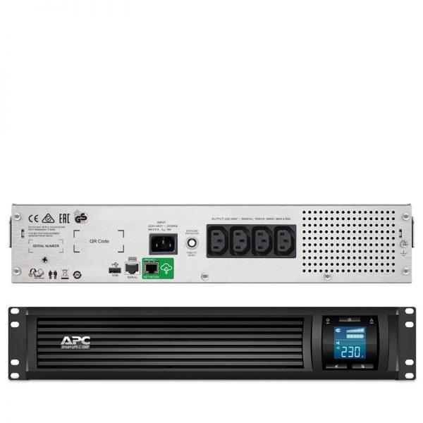 Bộ Lưu Điện: APC Smart-UPS C 1000VA LCD RM 2U 230V with SmartConnect - SMC1000I-2UC - Hàng Chính Hãng