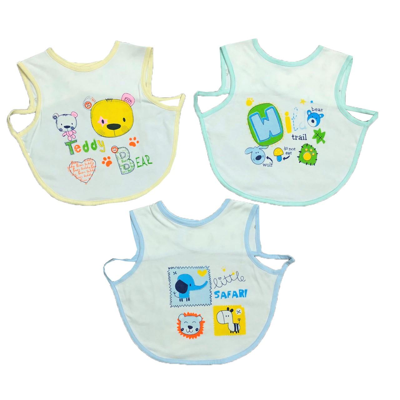 Combo 3 yếm áo cotton ăn dặm cho bé trai, bé gái 12-18M, chất vải cotton 100% mềm, mịn, thoáng mát, giữ gìn vệ sinh cho bé yêu