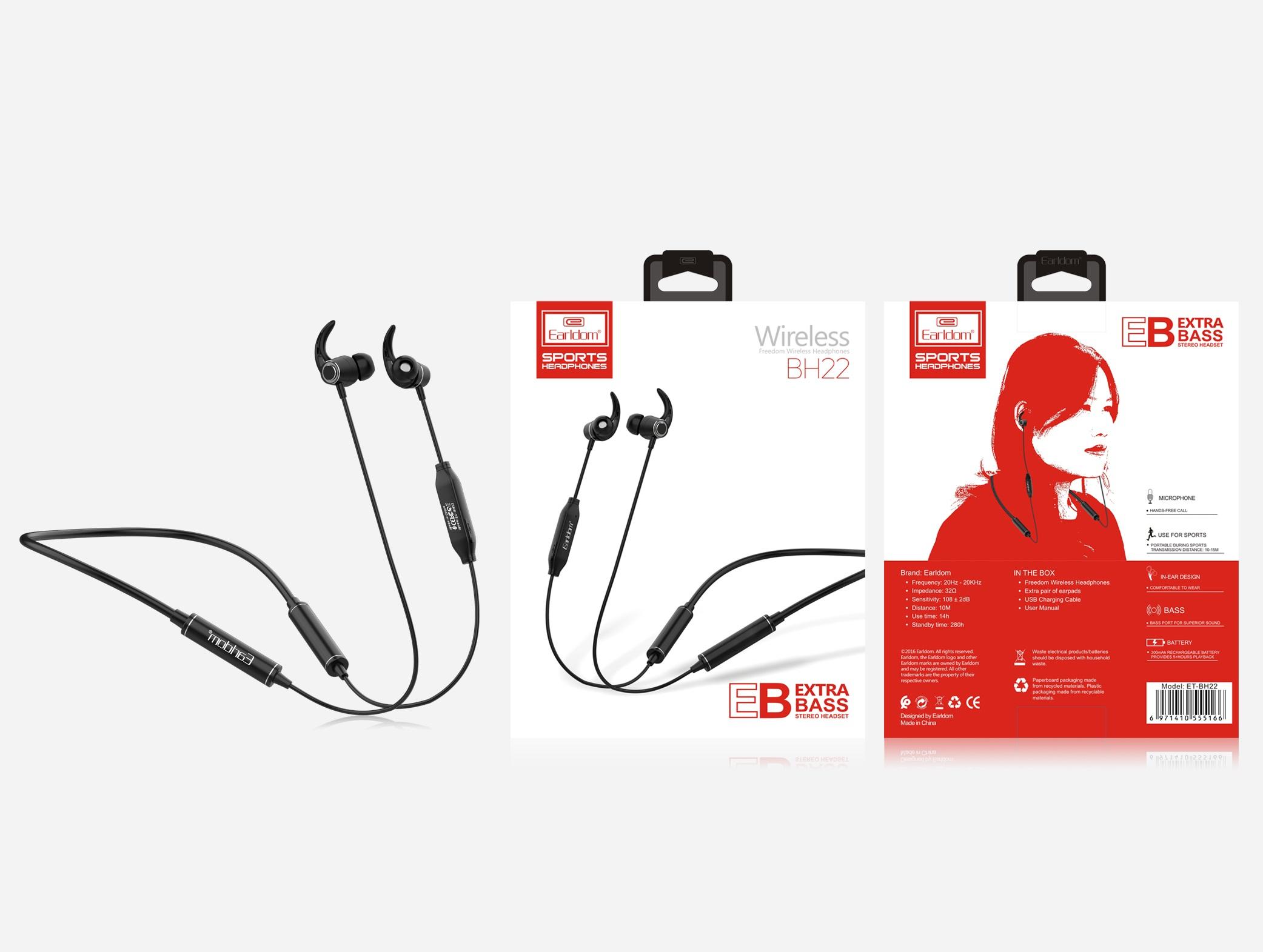 Tai Nghe Bluetooth Cá Tính Earldom BH22 (2 Tai, Có Dây) - Hàng Chính Hãng