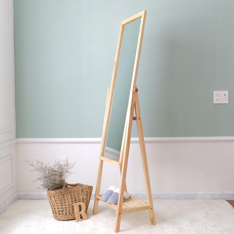 Gương Đứng Phối Kệ Gỗ Shefl Mirror Nội Thất Kiểu Hàn BEYOURs - Gỗ Tự Nhiên