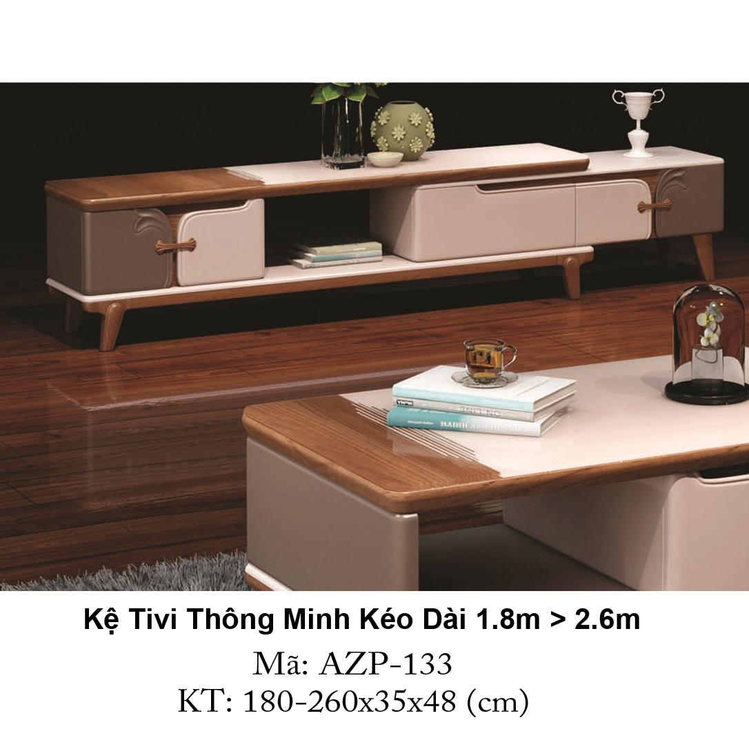 Kệ Tivi Mặt Kính Thông Minh Kéo Dài AZP-TV133 / Dòng Cao Cấp - Hàng Nhập Khẩu