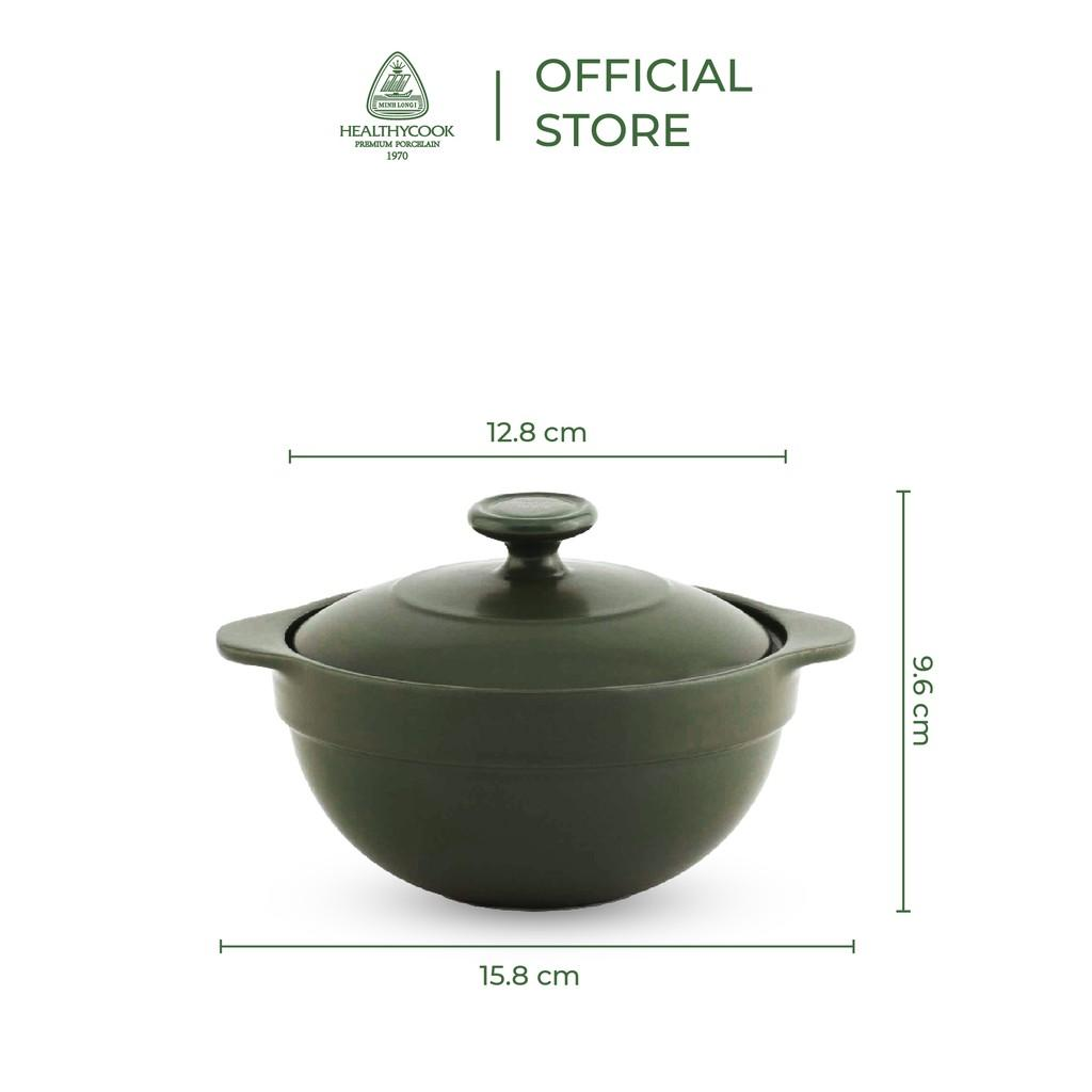 Nồi sứ dưỡng sinh Minh Long - Luna 0.35 L + nắp dùng cho bếp gas, bếp hồng ngoại
