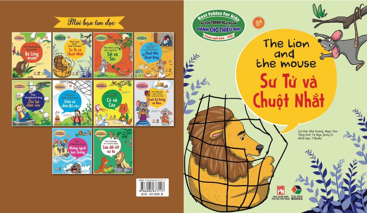 Combo 4 cuốn truyện tranh song ngữ - Truyện tranh ngụ ngôn dành cho thiếu nhi song ngữ Anh - Việt ( Kiến và chim + sư tử và chuột nhắt+ sói và sóc + chuột , gà trống và mèo )