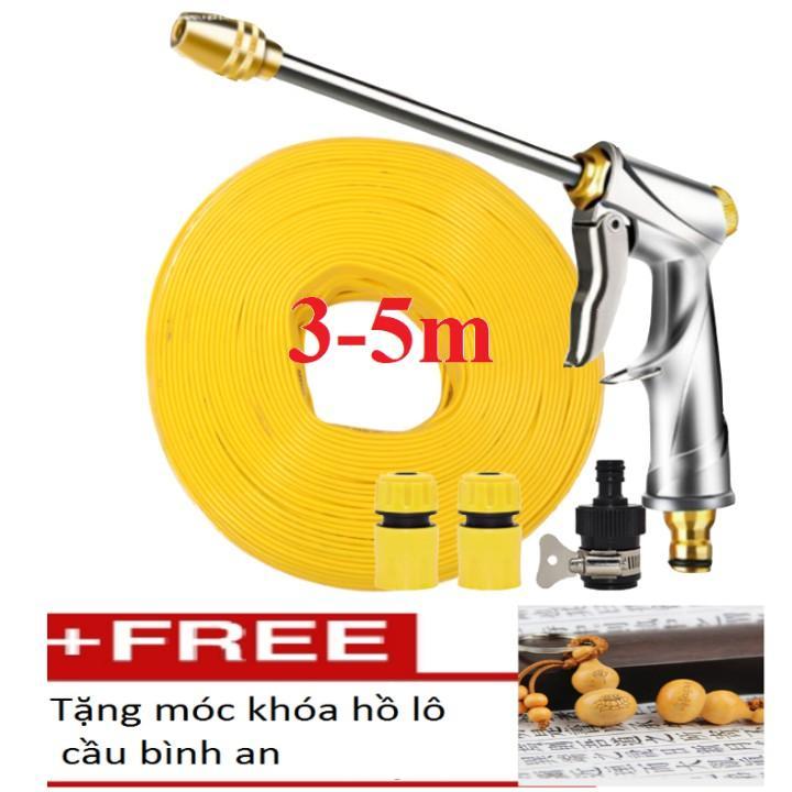 Bộ dây vòi xịt nước rửa xe,tưới cây .tăng áp 3 lần,loại 3m, 5m 206701-2 đầu đồng,cút,nói vòi đen+ tặng móc khoá