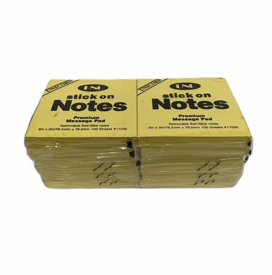 Lốc 12 xấp Giấy note vàng 3x3 UNC 7,6cmx7,6cm