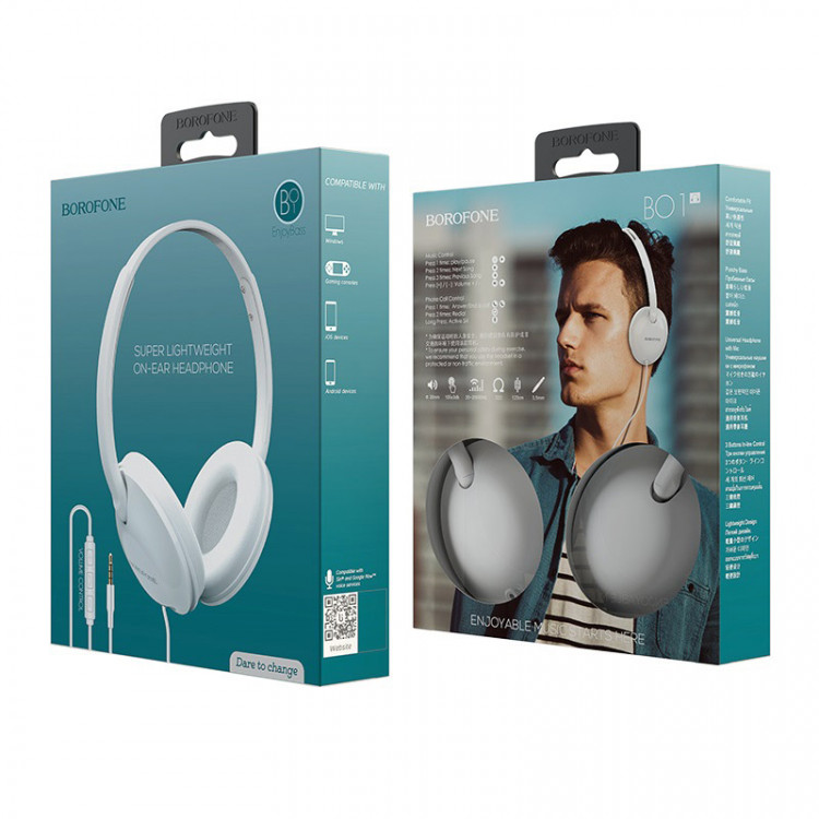 borofone bo1 enjoybass in line control wired headphones package white